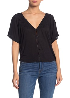 AMUSE SOCIETY Sweet Water Lace Trim Button Down Top
