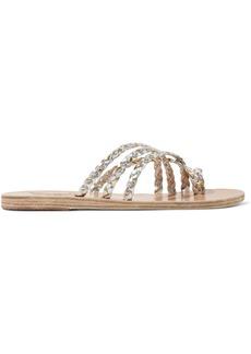 Ancient Greek Sandals Amalia Braided Metallic Leather Sandals