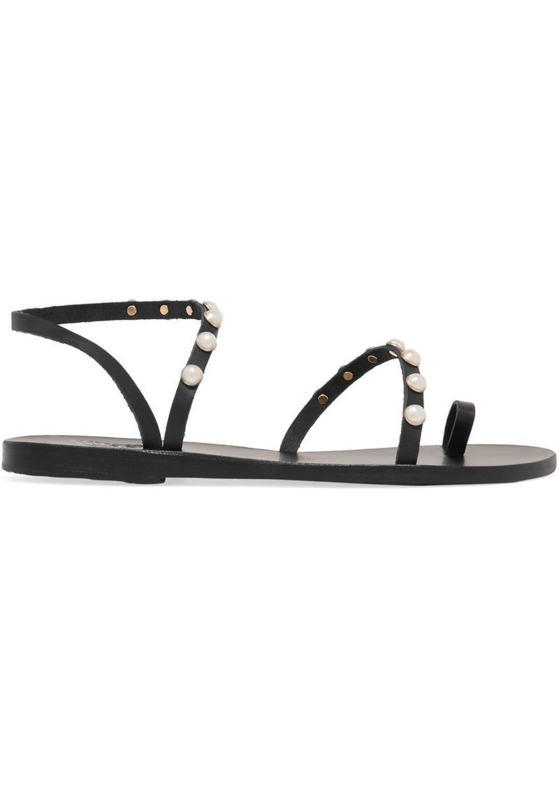 e0a89da947c Ancient Greek Sandals Apli Eleftheria Faux Pearl-embellished Leather Sandals