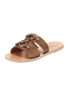 Ancient Greek Sandals Attiki Flat Metallic Leather Slide Sandal