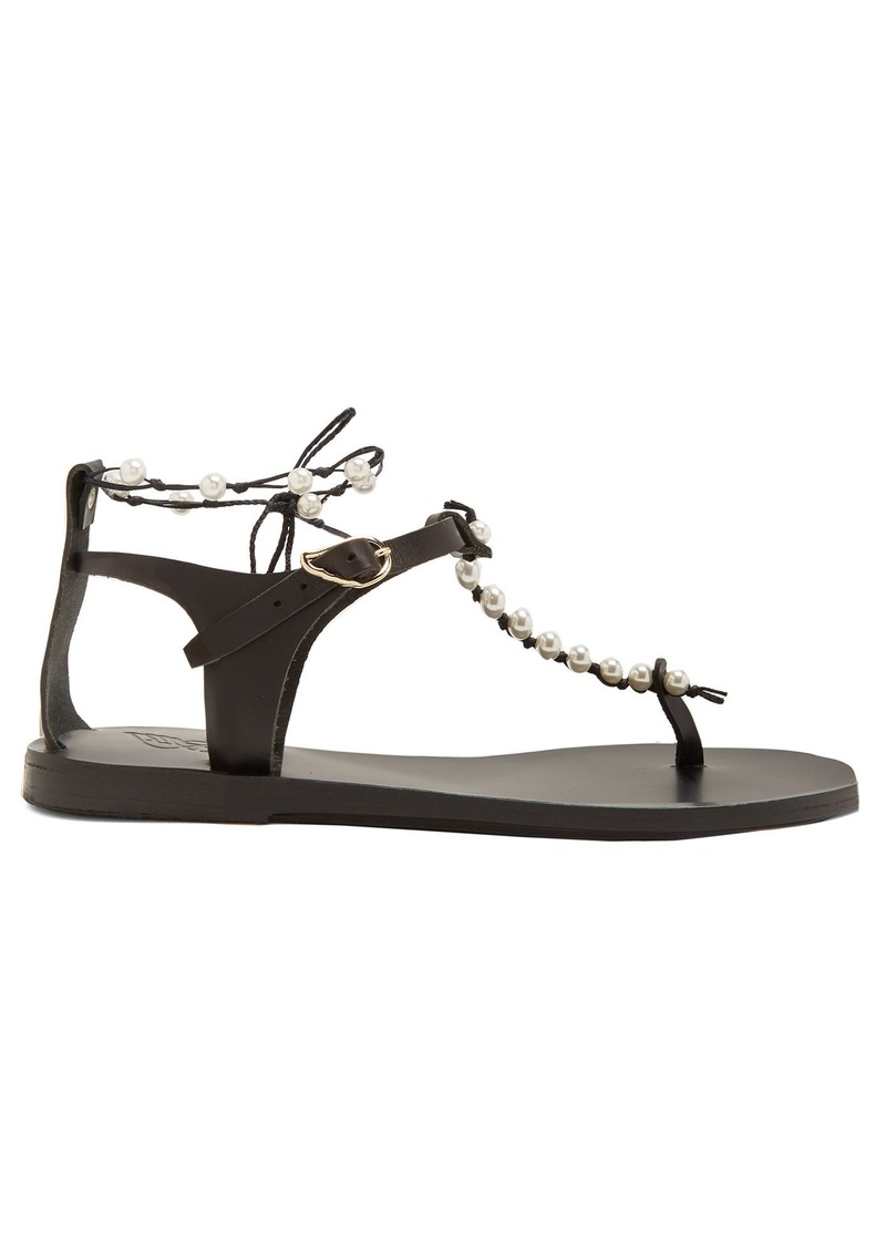 cdc36c488c7 Ancient Greek Sandals Chrysso faux-pearl embellished leather sandals