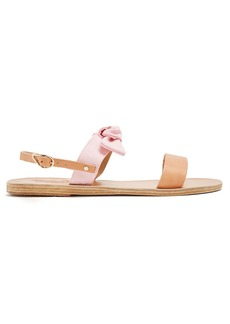 Ancient Greek Sandals Clio bow-embellished leather and denim sandals