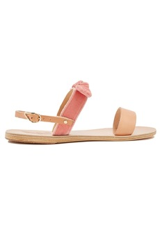 Ancient Greek Sandals Clio bow-embellished leather and velvet sandals