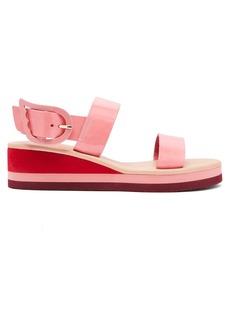 Ancient Greek Sandals Clio Rainbow patent wedge sandals