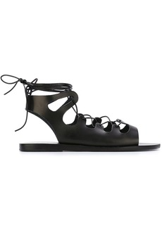 Ancient Greek Sandals gladiator laced sandals - Black