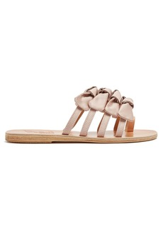 Ancient Greek Sandals Hara bow-embellished satin slides