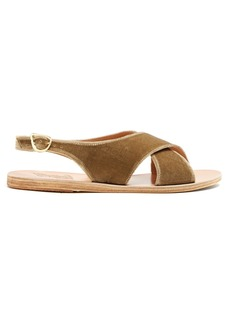 Ancient Greek Sandals Maria velvet and leather sandals