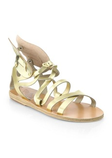 Ancient Greek Sandals Nephele Angel Metallic Leather Wing Gladiator Sandals