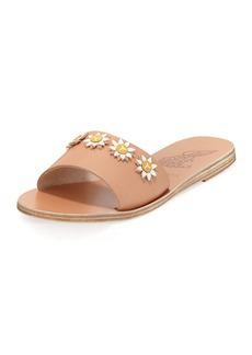 Ancient Greek Sandals Paolo Leather Flower Slide Sandal