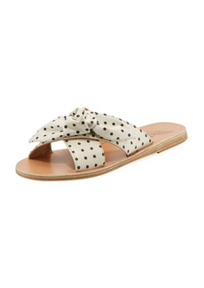 Ancient Greek Sandals Polka-Dot Satin Knotted Sandal