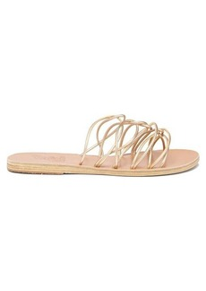 Ancient Greek Sandals Rodopi metallic leather sandals