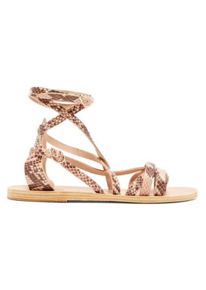 Ancient Greek Sandals Satira wraparound python-effect leather sandals
