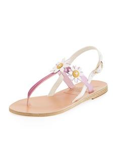 Ancient Greek Sandals Sylvie Leather T-Strap Sandal w/ Flower Appliqués