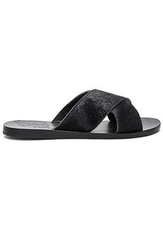 Ancient Greek Sandals Thais Calf Hair Slide in Black. - size 36 (also in 37,38,39,41)