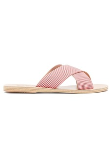 Ancient Greek Sandals Thais gingham leather sandals