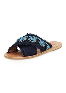 Ancient Greek Sandals Thais Raffia Denim Flat Slide Sandal