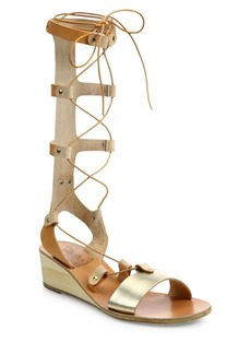 Ancient Greek Sandals Thebes Metallic Leather Tall Gladiator Wedge Sandals