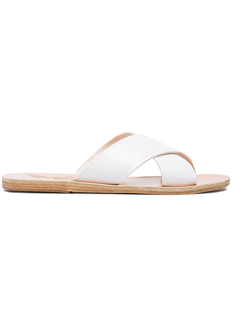 Ancient Greek Sandals White Thais Leather Sandals