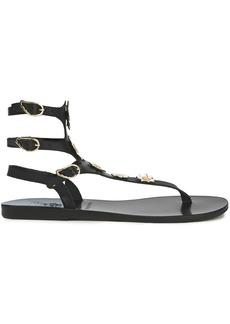 Ancient Greek Sandals Woman + Fabrizio Viti Valentina Floral-appliquéd Leather Sandals Black
