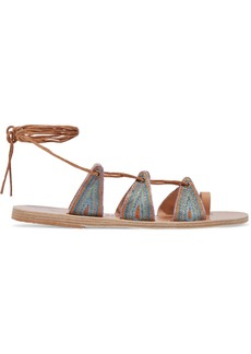 Ancient Greek Sandals Woman + Le Sirenuse Positano Alcyone Metallic Embroidered Leather Sandals Light Brown