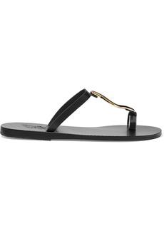 Ancient Greek Sandals Woman Aten Embellished Leather Sandals Black