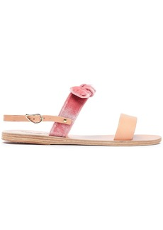 Ancient Greek Sandals Woman Clio Bow-embellished Velvet And Leather Sandals Pink