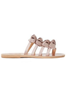 Ancient Greek Sandals Woman Hara Bow-embellished Satin And Leather Sandals Pastel Pink