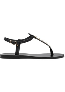 Ancient Greek Sandals Woman Lito Faux Pearl-embellished Leather Slingback Sandals Black