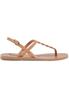 Ancient Greek Sandals Woman Lito Links Leather Slingback Sandals Sage Green