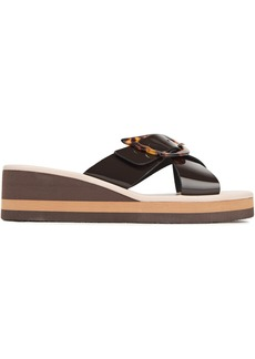Ancient Greek Sandals Woman Thais Buckled Patent-leather Wedge Sandals Chocolate