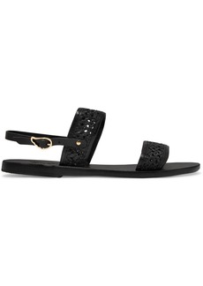 Ancient Greek Sandals Dinami Woven Raffia And Leather Slingback Sandals