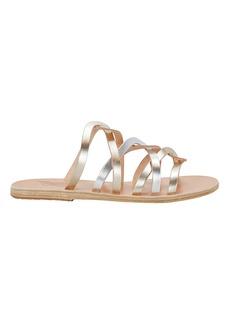 Ancient Greek Sandals Donousa Silver Slide Sandals