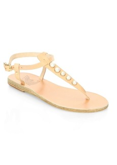 Ancient Greek Sandals Lito Pearls Leather Sandals