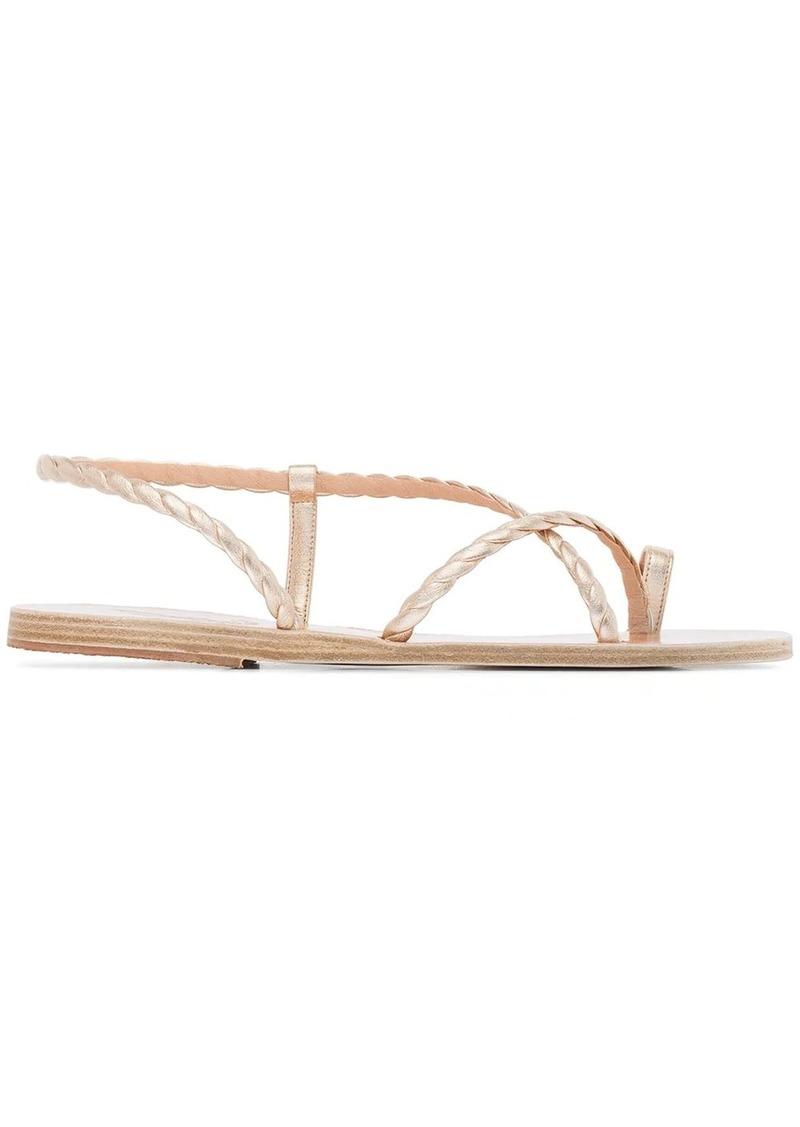 metallic fysi leather sandals