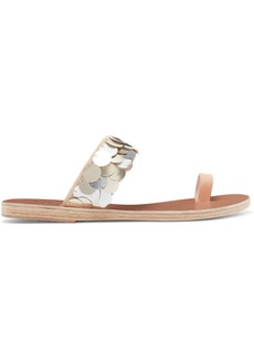 Ancient Greek Sandals Thraki Embellished Canvas And Leather Sandals