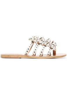 Ancient Greek Sandals white and black hara satin and leather sandals