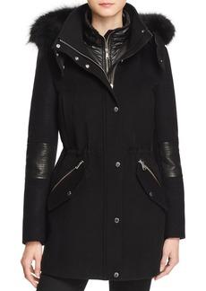 Andrew Marc 2-in-1 Fox Fur Trim Coat