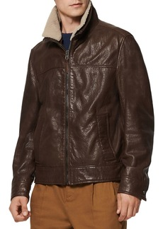 Andrew Marc Augustine Shearling Collar Leather Jacket