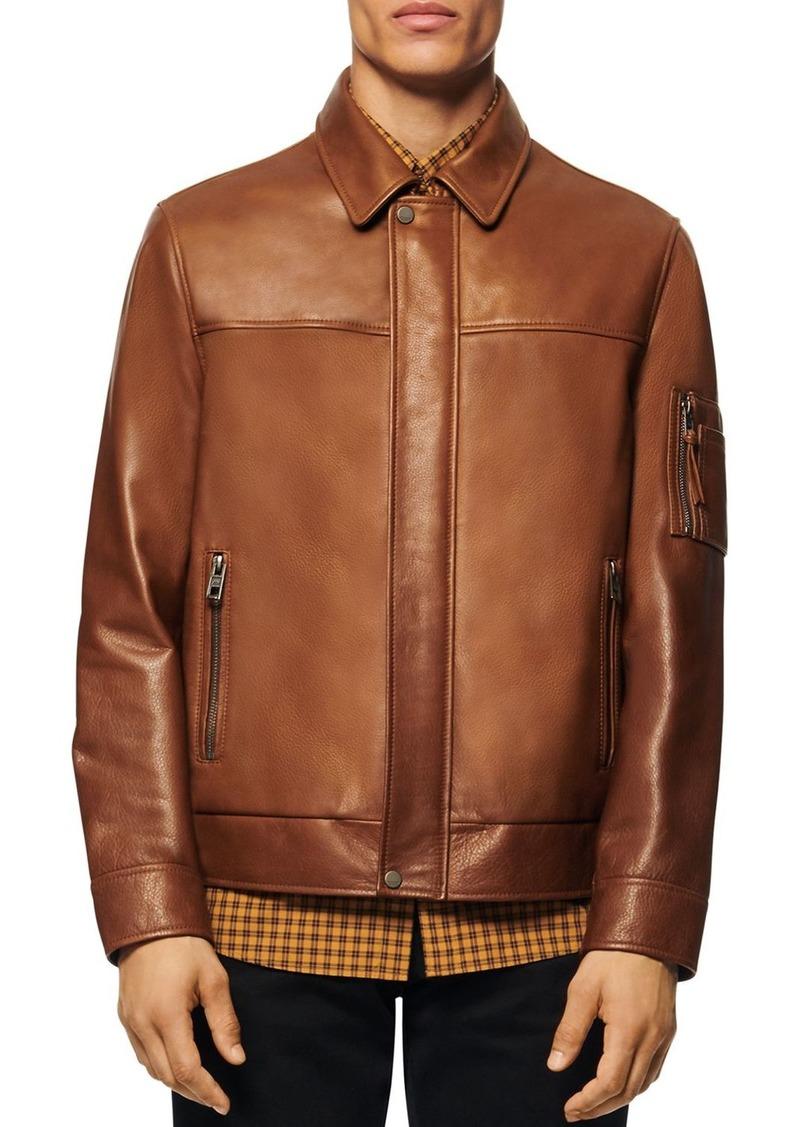 Andrew Marc Balthazar Leather Bomber Jacket