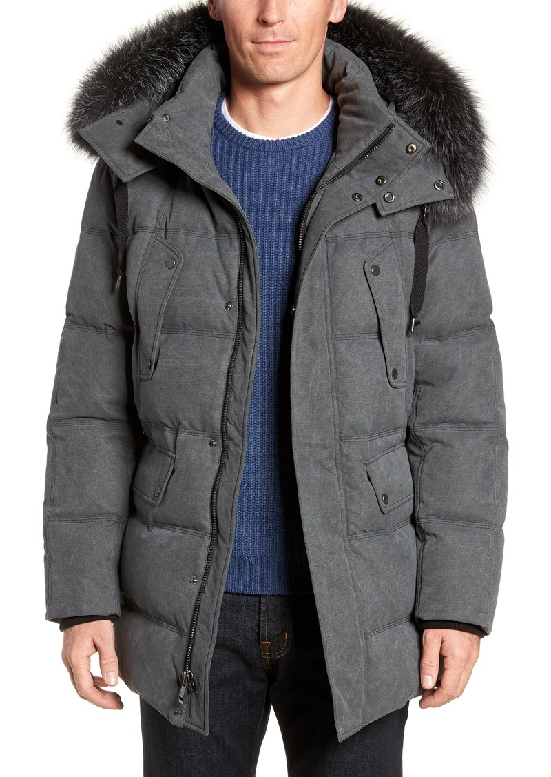 Andrew Marc Belmont Genuine Fox Fur Trim Down Parka