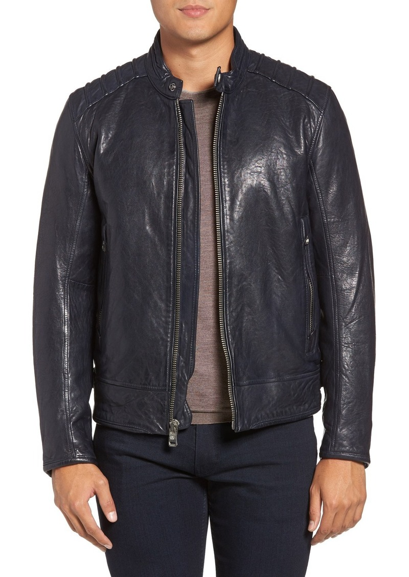 Andrew Marc Boarder Lambskin Leather Moto Jacket