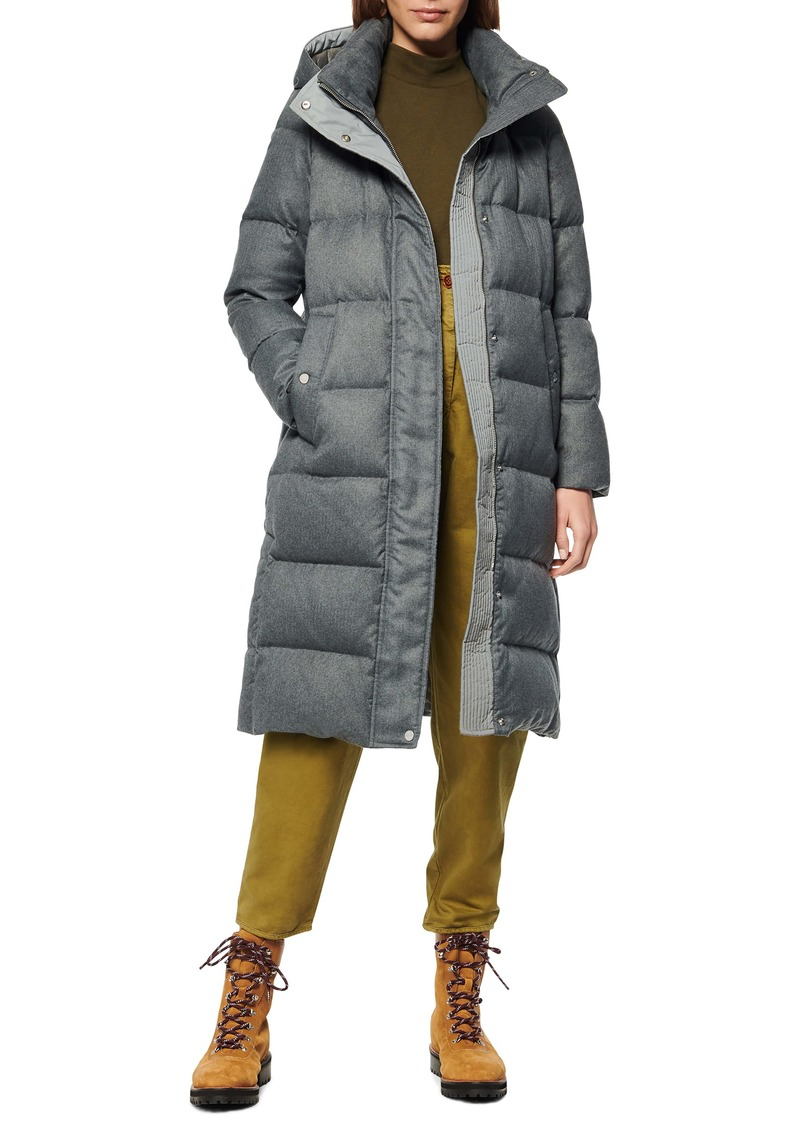 Andrew Marc Brushed Long Down Puffer Coat