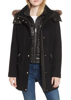 Andrew Marc Brynn Wool Blend Parka with Genuine Fox Fur Trim & Removable Insulated Liner