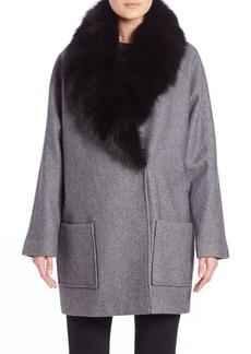 Andrew Marc Carine Fox Fur-Shawl Coat