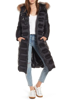 Andrew Marc Charlize 42 Hooded Water Resistant Down Coat with Genuine Fox Fur Trim