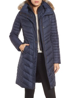 Andrew Marc Chevron Quilted Coat with Genuine Coyote Fur Trim