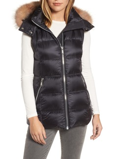 Andrew Marc Claire 28 Water Resistant Hooded Down Vest with Genuine Fox Fur Trim