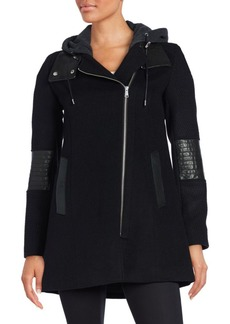 Andrew Marc Corey Leather-Trimmed Wool-Blend Knit Coat
