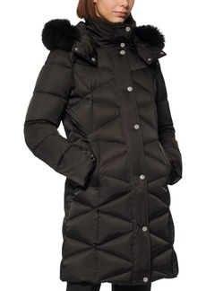 Andrew Marc Diamond-Quilt Fox Fur-Trim Hooded Down Coat