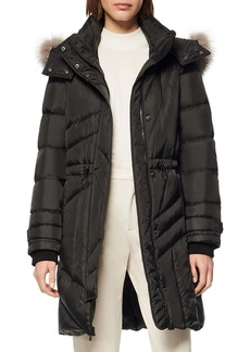 Andrew Marc Down & Feather Hooded Parka with Genuine Fox Fur Trim